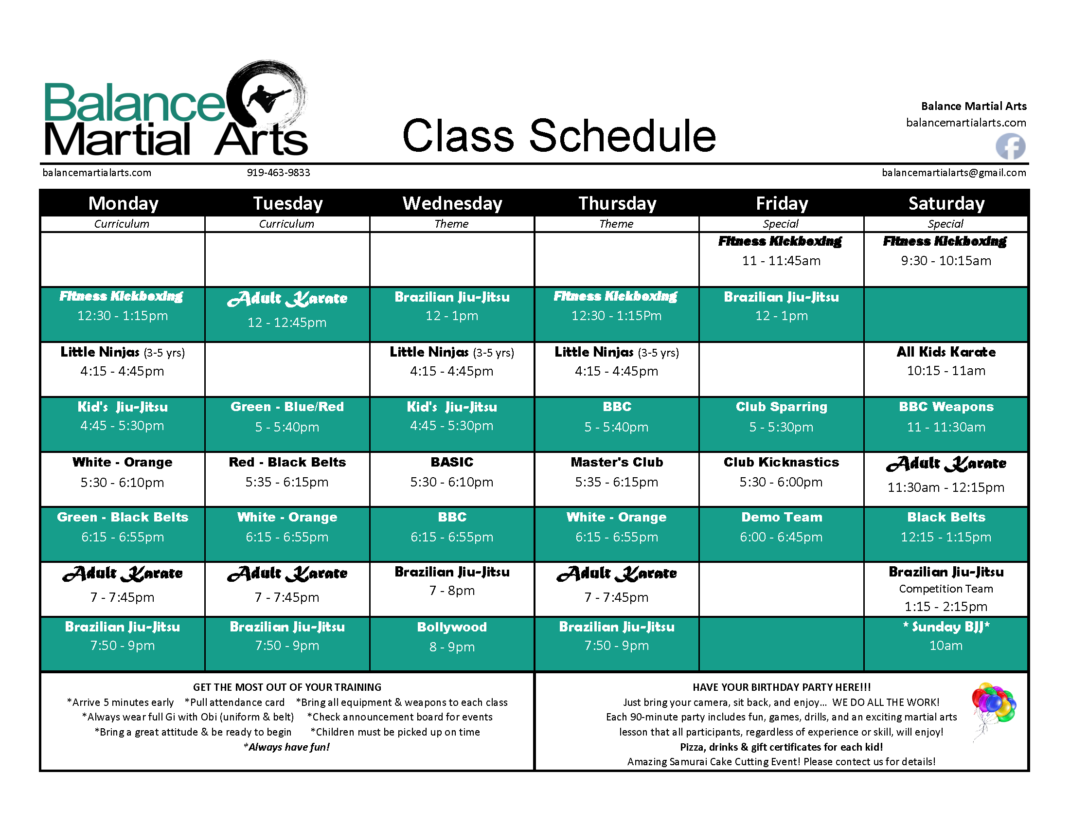 Balance Martial Arts Schedule
